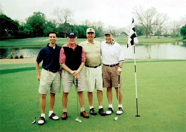 The AIM Golf Tournament at Old Orchard. Ed Larsen with Dave Barnard, Warren Tennant and Mark McMeans.